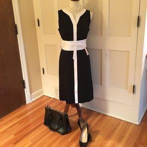 Talbots Black sleeveless dress with white trim